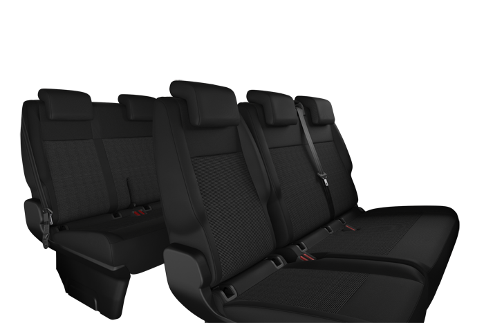 3-seater bench (1/3 2/3) in row 2, and 3-seater bench in row 3 (monobloc)