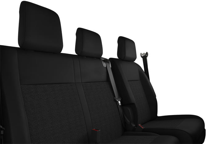 Dual front passenger bench seat with under-seat storage.